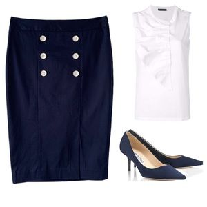THE LIMITED NAVY WHITE SAILOR PENCIL SKIRT SZ 6